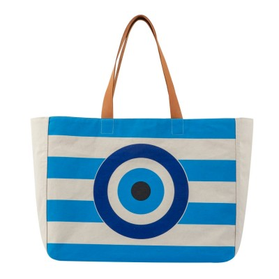EVIL EYE BEACH BAG TURQUOISE