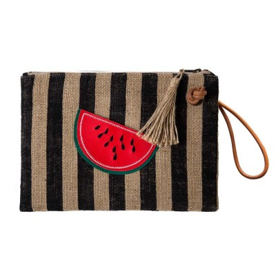 WATERMELON BURLAP CLUTCH