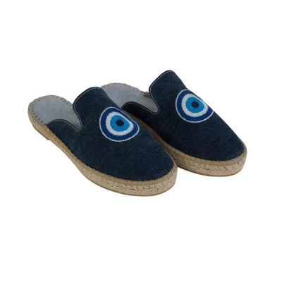 EVIL EYE MULES DENIM