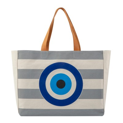 EVIL EYE BEACH BAG GREY